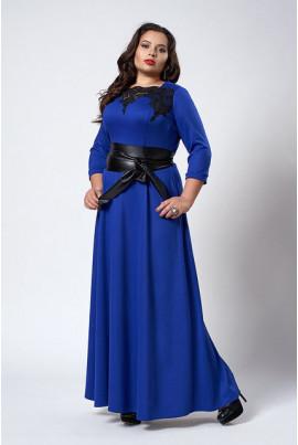 Тепле нарядне яскраво синє плаття великих розмірів