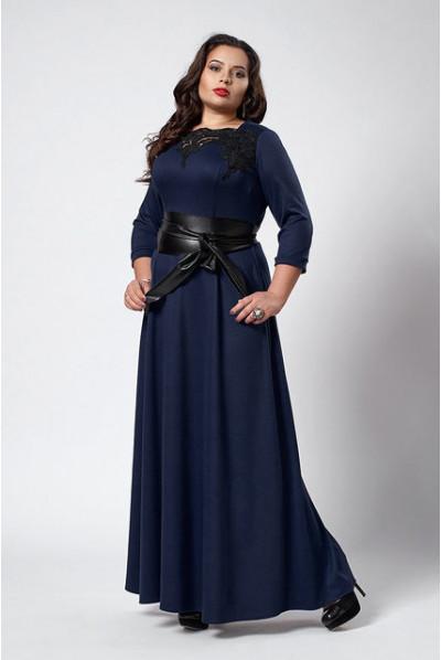 Тепле нарядне плаття батал темно-синього кольору
