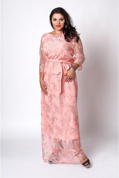 Витончене нарядне плаття в підлогу кольору персик