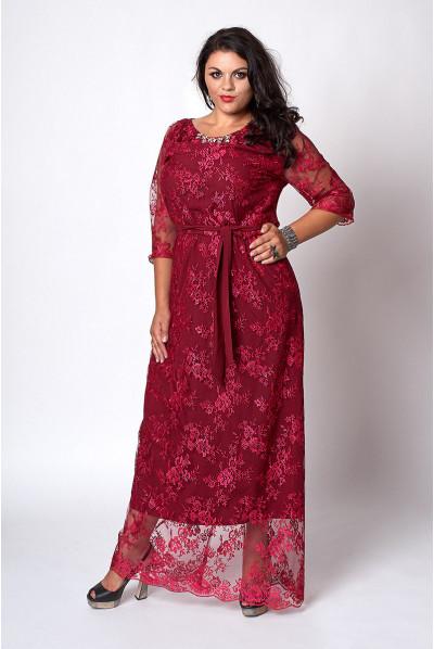 Шикарне вечірнє плаття кольору марсала з мережива