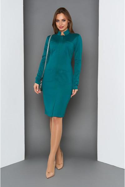 Зелене повсякденне плаття з коміром