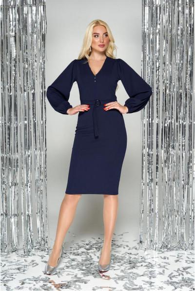 Синє осіннє плаття для повних жінок