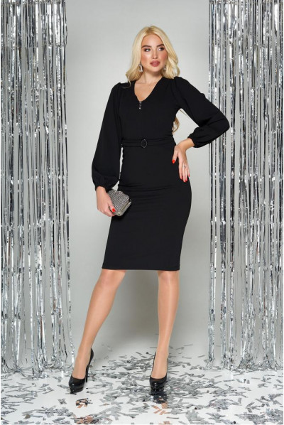 Чорне плаття міді з широкоми рукавами