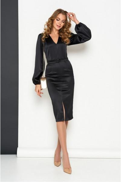 Чорне святкове глянсове плаття для повних жінок