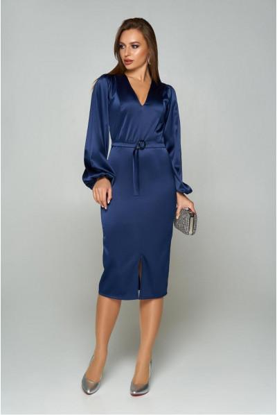 Темно-синє вечірнє атласне плаття