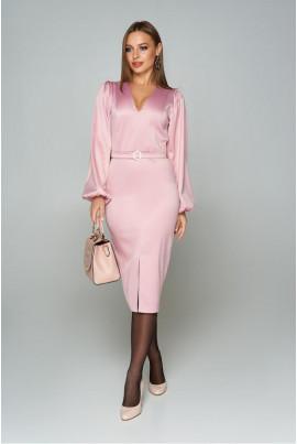 Рожеве нарядне атласне плаття батал