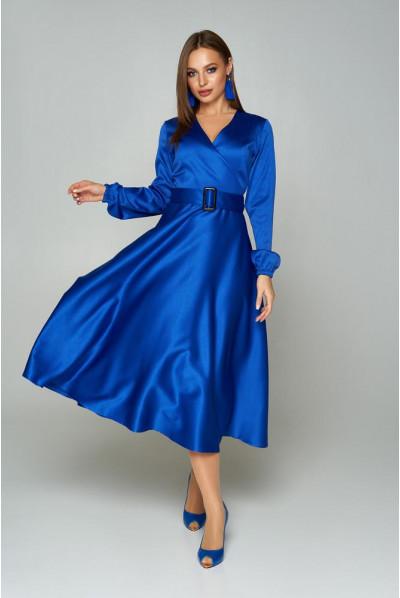 Нарядна сукня кольору електрик для повних жінок