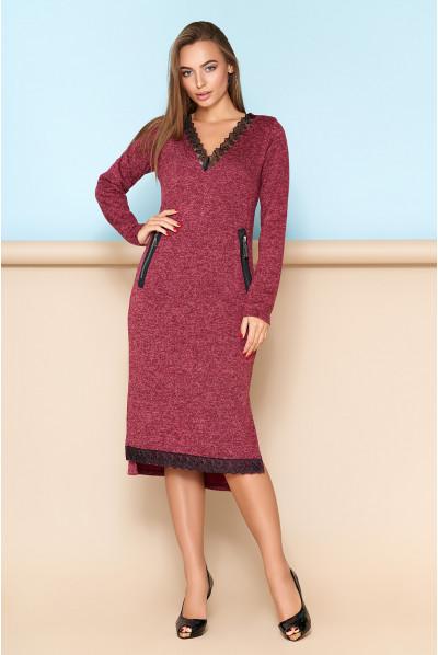 Бордове зручне плаття з мереживом великих розмірів