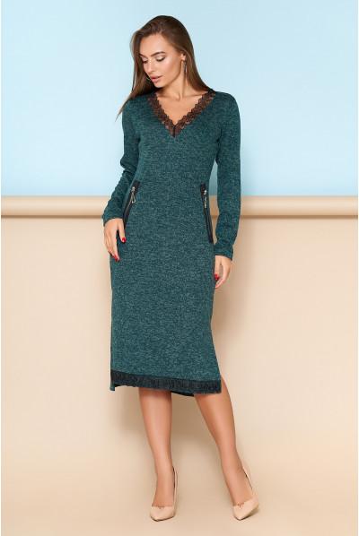 Зелене оригінальне плаття міді для повних жінок