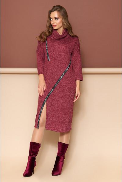 Бордове повсякденне плаття для повних жінок