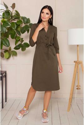Стильне плаття кольору хакі для повних жінок