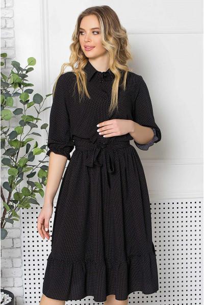 Чорна приваблива сукня міді з поясом