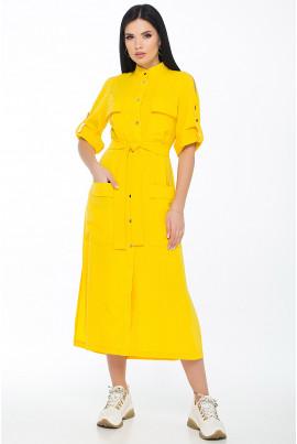 Жовта сонячна сукня міді для повних жінок