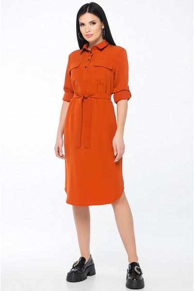 Теракотова лаконічна сукня міді з кишенями
