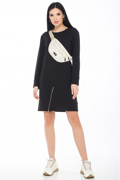 Чорне повсякденне плаття-туніка з функціональною блискавкою