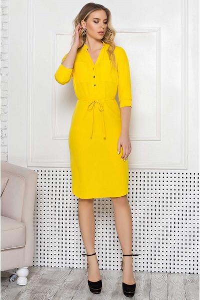 Жовта яскрава сукня міді великих розмірів