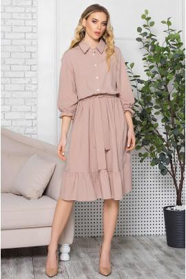 Бежева приваблива сукня міді з принтом
