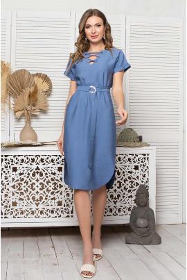 Темно-блакитне лляне літнє плаття міді