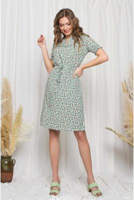 Ментолове літнє квіткове плаття міді