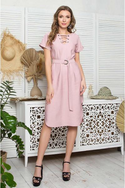 Пудрове жіночне звабливе плаття для повних жінок