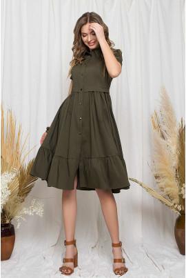 Стильне привабливе плаття міді кольору хакі