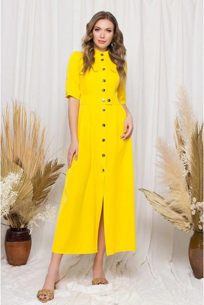 Жовта довга трендова сукня-сорочка