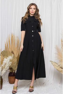 Чорна практична жіноча сукня-сорочка на кнопках