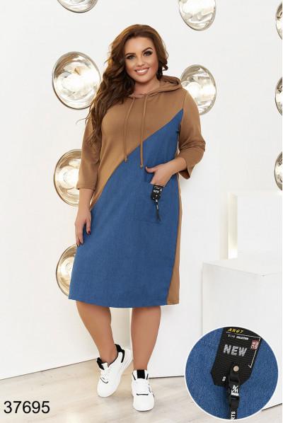 Молодіжне плаття спортивного стилю коричнево-синє