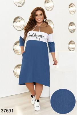 Карамельно-синє модне плаття з кишенями