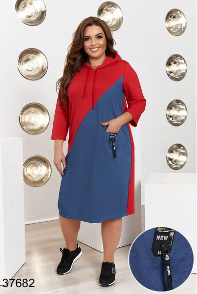 Червоно-синє зручне плаття з кишенями