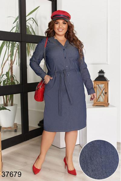 Темно-синє джинсове оригінальне плаття для повних жінок