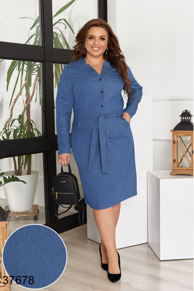 Блакитне жіночне джинсове плаття з кишенями