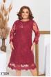 Бордове гіпюрове ошатне плаття великих розмірів