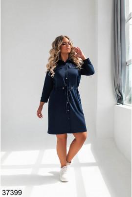 Темно-синє трикотажне плаття-рубашка великих розмірів