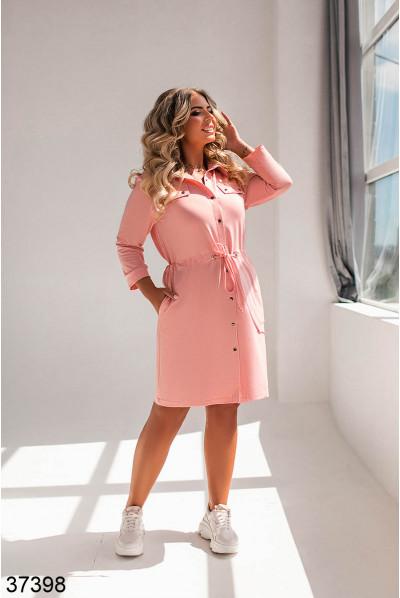 Пудрове жіночне плаття-рубашка на куліске