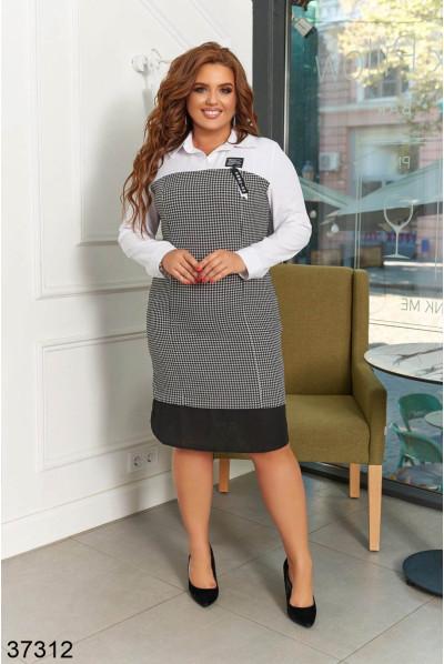 Чорно-біле модне офісне плаття великих розмірів