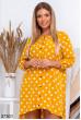 Гірчичне гламурне плаття в горох для жінок з апетитними формами