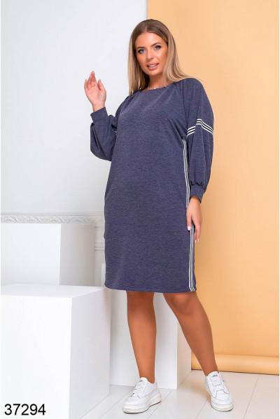 Синє трикотажне жіноче плаття великих розмірів