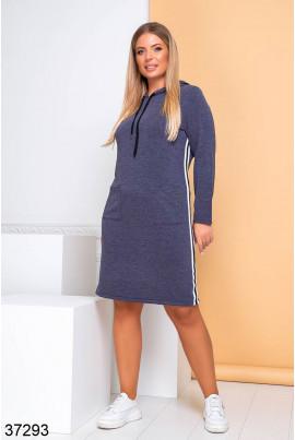 Синє оригінальне спортивне плаття з лампасами