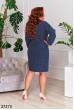 Темно-синє жіночне ефектне плаття в горох
