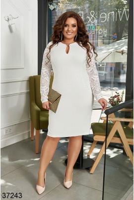 Біле розкішне плаття міді жля жінок з апетитними формами