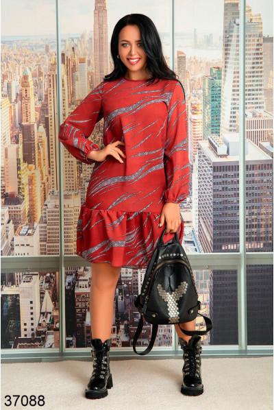 Червоне оригінальне плаття з рюшею для повних жінок
