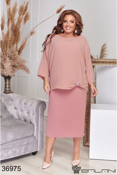 Пудрове ніжне шифонове плаття великих розмірів
