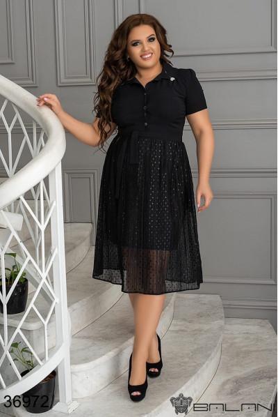 Чорне гламурне плаття в паєтках великих розмірів