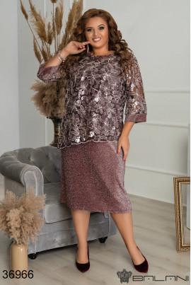Коричневе стильне жіноче плаття для жінок з пишними формами