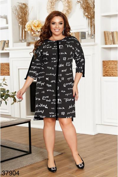 Чорне принтованне плаття великих розмірів