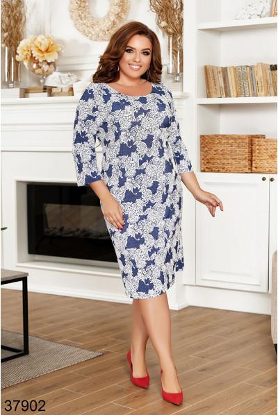 Блакитне ніжне плаття міді з принтом для повних жінок