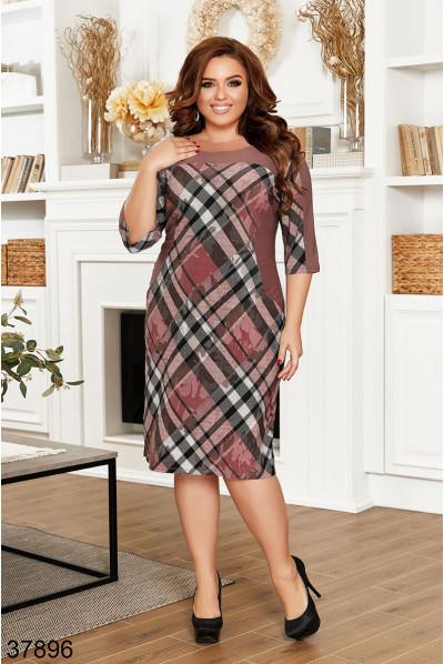 Коричневе повсякденне плаття міді для жінок з апетитними формами