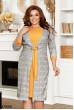 Жовте клетчате плаття-кардиган для жінок з апетитними формами