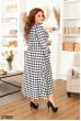 Чорно-біле повсякденне плаття в клітинку для повних жінок